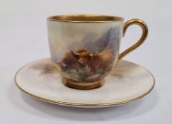 Royal Worcester demi-tasse and saucer, printed puce marks, printed date code for 1926, painted by