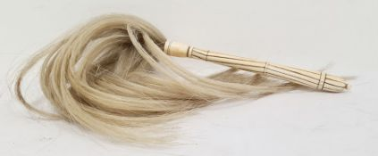 19th century carved ivory fly whisk with horse hair Condition ReportThe ivory part is 20.5 cm