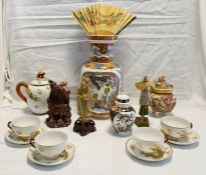 Assorted Chinese items to include 20th Century vase, part tea service, teapot, various figures.