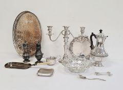 Pair of silver plated sugar casters, a circular pierced dish, a tray, a jug, etc
