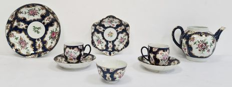 Worcester blue scale ground part tea service, 1775, blue crescent and W marks, painted with bouquets