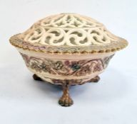 Royal Worcester pierced blush ivory ground pot pourri bowl, pierced cover and stand, early 20th