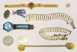 Collection of costume jewelleryto include necklaces, pendants, charms, wristwatches, rock crystal