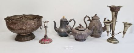 Quantity of plated itemsto include candlesticks, teapots, trays, etc (2 boxes)