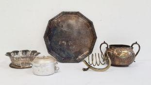 Aluminium trinket potmarked 'Lallubhai Amichand Ltd, Bombay' to reverse, a silver-plated dish, a