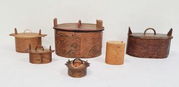 Collection of six various antique Scandinavian bentwood 'tine' food boxes, some hand-painted and