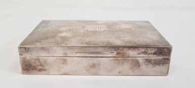 Silver cigarette boxwith wooden lined interior, monogrammed 'MRH'