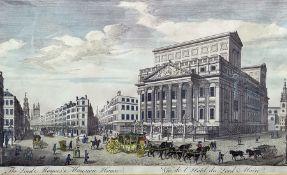 """T Bowles Coloured engraving """"The South West Prospect of London - Vue de Londres Vers Le Sud Ouest"""","""
