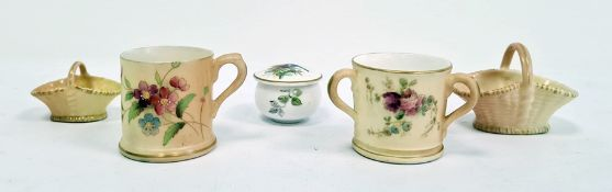 Royal Worcester blush ivory ground miniature tygpainted with rose sprays, printed puce marks,