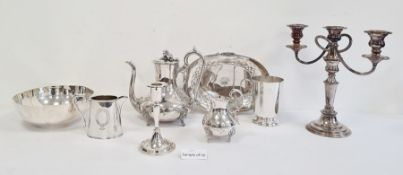Quantity of plated ware to include candlestick, bowl, dishes, teapots, etc (1 box)