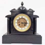 """19th century black slate mantel clockwith eight-day movement by """"R & Co., Paris"""""""
