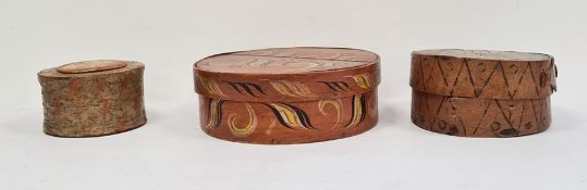 Three various Scandinavian 'tine' bentwood, hand-decorated and hand-painted work boxes (3)