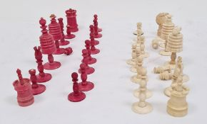19th century carved bone and stained red chess set