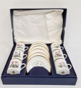 Royal Worcester porcelain setof six coffee cans and saucers with individual floral decoration, in