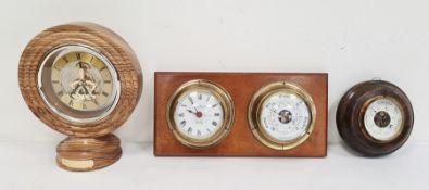 Modern oak-framed skeleton mantel clock,a wall-mounted clock and barometer and an oak-mounted