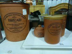 Original Suffolk crock, Henry Watson pottery, two storage jars,a lidded sugar bowl, large square