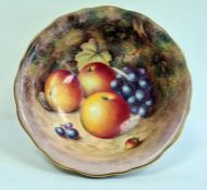 Royal Worcester fruit painted bowl by H. Ayrton, printed black marks, 20th century, painted with