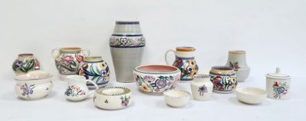 Large quantity of Poole pottery to include two early Carter Stabler Adams small vases, floral