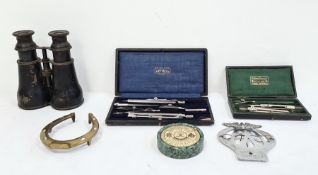 Pair of binoculars, an AA automobile badge, drawing instrument sets, etc