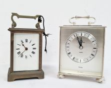 19th century brass four-glass carriage clockand a Junghans Meister West Quartz German carriage