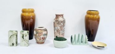 Three pieces of Carltonware, a pair of studio pottery vasesby Carn Pottery, Penzance, two various
