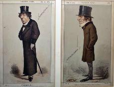 """Pair of Vanity Fair framed prints""""Statesman No.1"""" Jan 30 1869, No.13 and """"Were He a Worse Man he"""