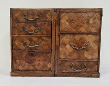 Two parquetry inlaid chests of drawersraised on plinth bases (attached later at back), 28cm high