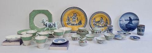 Two Royal Copenhagen pin trays, a similar plate, a Japanese doll's tea service, Art Deco-style