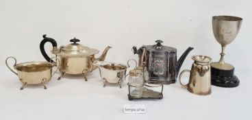Quantity of plated items and metalwareto include flatware, jug, teapot and other items (1 box)