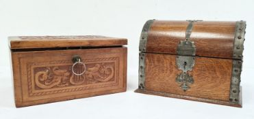 Domed-top oak boxand an embossed leather covered rectangular box (2)