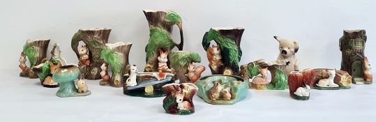 Large collection of Hornsea pottery vases and posies, all with animals to include squirrels, dogs, e