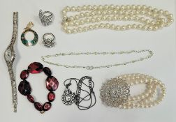 Large quantity of costume jewellery, clutch bagsand other items Condition ReportSilver clutch