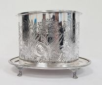 Victorian EPNS oval biscuit barrel with foliate cut decoration Condition ReportThe lid doesn't