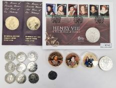 Two various Royal family commemorative coins, Millennium coins and a leather-cased 50ft tape measure