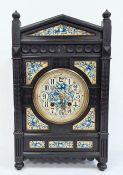 19th century aesthetic-movement clock, possibly by A Lewis F Day, the dial and fore-panels