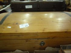 Pine domed chestwith metal bands and two school trunks(3)