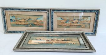 Three Oriental relief pictures depicting pagodas in a landscape, one larger, two smaller, 32cm x