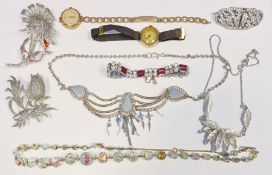 Two various 9ct gold watches, a collection of brooches, costume necklaces, etc (3 boxes)