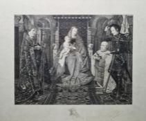 """After Jan van Eyck Eugene Gaujean (1850-1900) Etching """"From the Altar of the Canon van de Paelen"""","""