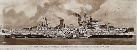 """Pair of modern prints """"A British Cruiser and How it Works HMS Southampton a Vessel of Novel Features"""