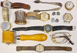 Collection of gentleman's wristwatches,a silver napkin ring, boxed, two various silver spoons and