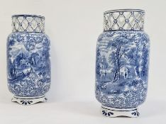 Pair of J Kent Fenton blue and white pottery vases 'Ye Olde Foley Ware' (2)  Condition ReportThese