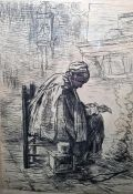 After Jozef Israels (Dutch) (1824-1911) Etching Published London July 1883, 40cm x 41cm with margin,