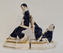 Pair of glazed pottery Royal Dux bookends styled as a pair of Pierrot (2)  Condition ReportThe