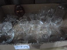 Large quantity of glassware including engraved glass, cut glass, moulded glass, vases, wines, etc