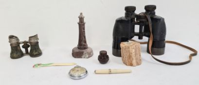 Cornish ware carved stone lighthouse, a pair of binoculars, a pair of opera glasses, carved bone