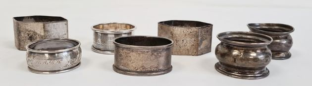 Collection of seven various silver napkin rings, 3.85oz total weight (7)