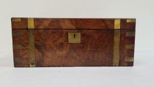 Large 19th century walnut and brass-bound writing slopewith fitted interior, brass plaque to top