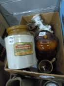 Earthenware jarwith a vintage label 'International Mincemeat, International Stores, The Greatest