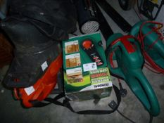 Two Bosch electric hedge trimmers, a Ronseal electric power sprayer, an electric garden vacand a